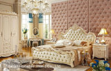 Pearl White Color Neoclassical Style Solidwood Leather Bedroom Set (HF-MG806)