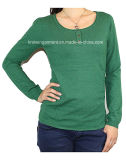 Women Fashion Knitted Round Neck Long Sleeve Sweater Clothes (12AW-052)