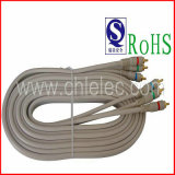 Grey 3RCA Cable with RoHS/ISO9001