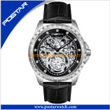 Round Dial Genuine Leather Band Tourbillion Automatic Watch for Man