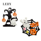 2PCS/Set Enamel Hollow out Spider Web Pumpkin Halloween Element Brooches