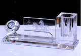 crystal Pen Holder Organizer with Clock