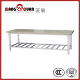 Commercial Kitchen Wooden Overshelf / Top Board Stainless Steel Table