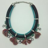 Ethnic Three Rows of Necklace with Tassels, Beads and Stones