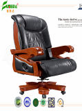 Swivel Leather Executive Office Chair with Solid Wood Foot (FY1310)