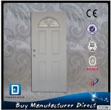 Half Moon Tempered Fan Lite Glass Exterior Prehung Steel Entrance Door