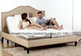 Home Furniture Bedroom Furniture Massage Adjustable Bed with Memory Foam Mattress Bed and Real Leather Surrounding Headboard