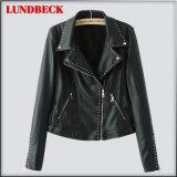 Fashion Women′s Black PU Jacket for Outer Wear