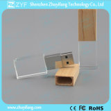 100% Full Capacity Wood Cap Crystal USB Flash Drive (ZYF1516)