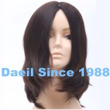 Women Natural Hair Medium Wig with French Top