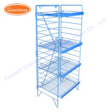 Folding 4 Tiers Cheap Floor Standing Wire Metal Grid Display Shelving Rack