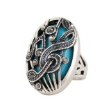 Punk Tibetan Silver Alloy High -Quality Music Notation Resinfashion Rings