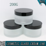 200g Frosted Cosmetic Glass Jar with Black Aluminium Lid 200ml