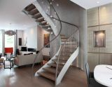 Wood Staircase/Glass Ladder with Steel Structure