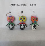 "5.5""H Date of Dead Halloween Decoration Gift-3asst"