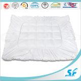Pure White Cotton Microfiber Filled Mattress Topper Protector