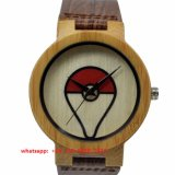 Fashionable Quartz Wooden Watch with Leather Strap Fs520