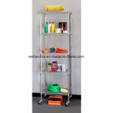 5-Tier Zinc Coated NSF 500lbs Garage Steel Wire Shelving with Wheels