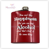 6 Ounce Promotional Screen Print Stainless Steel Whisky Hip Flask