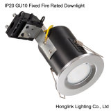 IP20 Aluminum Chrome Fixed Fire Rated Downlight GU10 BS476
