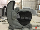 Absolute Black Granite Single Angel Carved Monument / Headstone with Heart