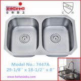 Similar-Size Double Bowl Stainless Steel Kitchen Sink (7447)
