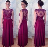 Wine Lace Bridesmaid Mother Formal Gowns Chiffon Evening Dresses Z1060