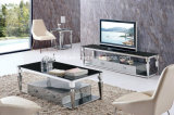 Modern Living Room Rectangle Glass Stainless Steel Coffee Cocktail Table