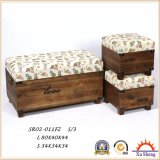Accent Wooden Fabic Print Storage Ottoman Stool Wooden Trunk