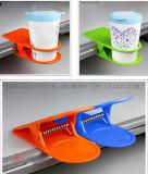 Custom Desk Side Cup Stand Saucer Holder with Spring Clip