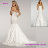 Beaded Elongated Bodice Ivory Modified A-Line Wedding Gown with Sweetheart Neckline and Satin Skirt