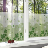 Frosted Translucent Window Film Decorative Green Leaves Glass Stickers