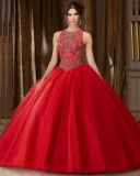 Beading Red Tulle Quinceanera Dress Crystal Ball Gown Yao28