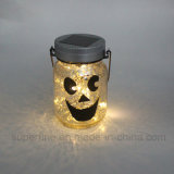 Halloween Pattern Printed Gold Electroplated Glass Solar LED Jar Light