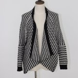 Ladies′ Black/Cream Striped Cardigan with Lose Version and Soft Handfeel, with PU Pocket