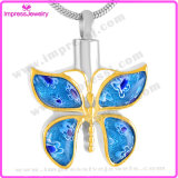 Butterfly Shape with Crystals Memorial Necklace Cremation Jewelry Pendant 316L Stainless Steel