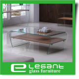 Clear Bent Glass Coffee Table with Ash Wood Veneer Shelf