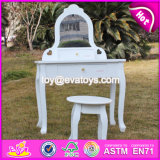 New Design Youth Bedroom White Solid Wooden Dressing Table Chair W08h072