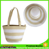 Set of Straw Beach Bag and Hat for Lady