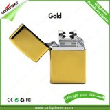 Ocitytimes Gold Electronic Cigarette Lighter Rechargeable Double Arc Lighter
