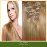 Blonde Brazilian Human Hair Clip on Hair Extensions (C-017)