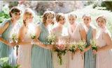 New Coral V Collar Backless Long Chiffon Bridesmaid Dress Yao178