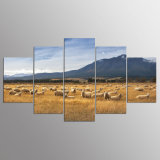 5 Panel Modern HD Art Print Canvas Flocks of Sheep Art Wall Framed Paintings for Living Room Wall Picture Kn-11