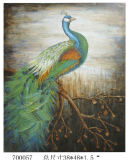 Color Spectacle Handmade Canvas Peacock Oil Painting (LH-M170508)