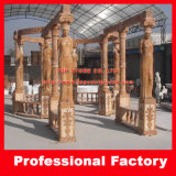Sunset Red Marble Gazebo with Lady Sculpture for Garden