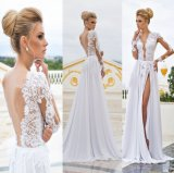 Backless Beach Bridal Dresses A-Line Lace Chiffon Wedding Gowns Z2069