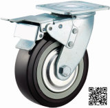 4/5/6/8 Inch Heavy Duty Black PU Castor Wheel Industrial Caster with Double Brake