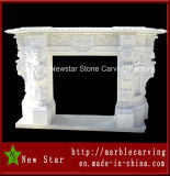 Indoor Natural Marble Fireplace Surround Antique Stone Fireplaces (NS-1202)