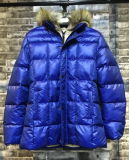 Fashion New Men Long Contrast Padded Jacket with Fake Fur Hood