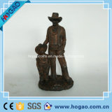 Polyresin Figurine Day and Boy Copper Coation